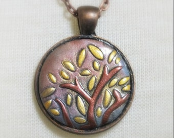 Zen Abstract Nature Tree Leaves Gold Bronze and Antique Copper Pendant Necklace, Polymer Clay Jewelry, Autumn Fall Colors
