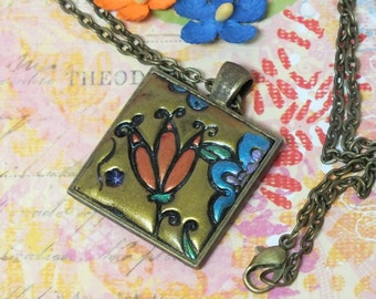 Colorful Whimsical Bohemian Necklace, Orange and Blue Flowers Antique Gold Pendant Necklace Polymer Clay Jewelry,  Boho Hippie Jewelry