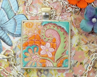 Pastel Whimsical Hippie Flowers Pendant Necklace Polymer Clay Jewelry, Pink Orange Yellow Blue Lime Green Floral Necklace