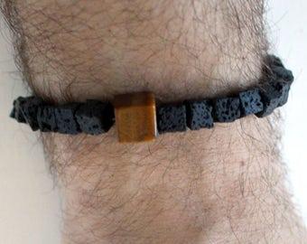 Square lava bead men's unisex beaded bracelet (stretchy), inspired by Iceland