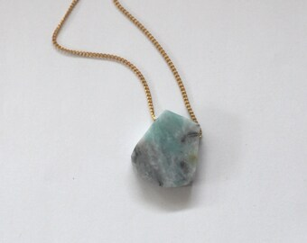 Amazonite necklace on gold plated chain