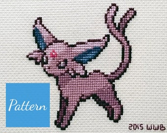 Espeon (Pokemon) Cross Stitch Pattern