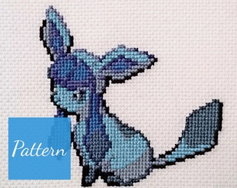 Glaceon (Pokemon) Cross Stitch Pattern