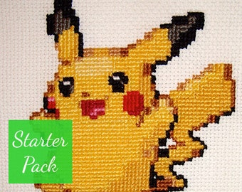 Pikachu Cross Stitch Starter Pack