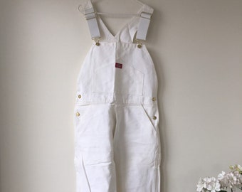 01b1fde1800 Vintage White Bib overalls Painter pants DICKIES Bib Dungarees 70s 80s 100%  cotton Coveralls White Workwear NOS deadstock 32 by 32 inches