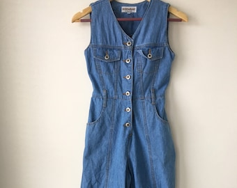 a584fe3ad92 70s vintage denim jumpsuit Wide leg Blue jean cotton Button up Sleeveless  Palazzo pant jumpsuit HOKO Size XS S