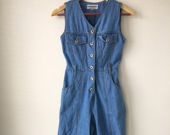 04e27a9fb001 70s vintage denim jumpsuit Wide leg Blue jean cotton Button up Sleeveless  Palazzo pant jumpsuit HOKO Size XS S