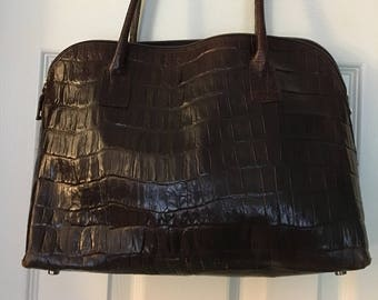 d093d762ee01 Crocodile embossed handbag Brown leather Shoulder bag with metal feet  Timeless Elegant bag made in Italy authentic bag gift Claudia Firenze