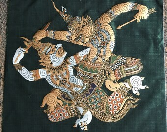 "Vintage Wall hanging Thai Oriental Textile Fabric with large Thai Mythical Characters  Collectible wall art  Gift for him or her 21 ""by 18"""