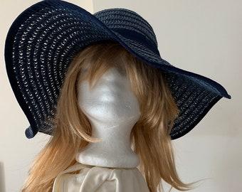 5f1387ec79e18 Women s sun hat Floppy Wide Brim Minimal woven Summer Hat Boho Festival  wear Pack-able Garden Party Paper Yarn Navy Blue Hat size 7 1 4