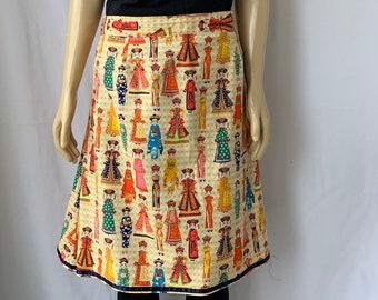 d14eb7d31a Novelty print skirt Asian Motif Handmade Colorful pure cotton A-line boho  hipster skirt size XL waist 38