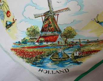 HOLLAND Souvenir scarf  50's  windmill  landscape Tourist bright florals vintage dutch clothing gift for her   26 by 23 inches