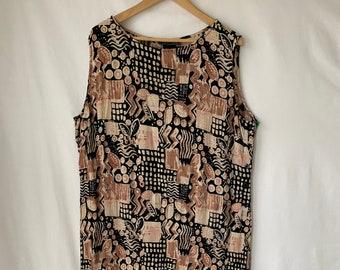a740c298355 Vintage Rayon dress 3X Plus size Maxi Shift Dress Sleeveless Summer Crinkle  Rayon Side slits Tribal African Print Boho Bohemian plus size 3X