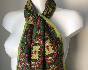 Vintage neck scarf fringed Long collectible Crepe Royal Rutschfest Germany Aztec print Olive green 70s head scarf length 48 inches gift
