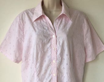 cf4dcc510ce45c Pink eyelet lace blouse Vintage Broderie Anglaise 80s Pure cotton Cut out  lace Short sleeves Country Collection Plus size size 18