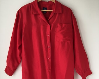 1f1f3579b9f Red silk shirt 80s Button down Long sleeves Plus size small to XL
