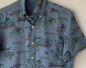 cc96f4b4aa Vintage Hawaiian shirt Chambray cotton Tahiti Island print shirt Men's  Button up Short sleeve Pocket Camp shirt J CREW Men's XS