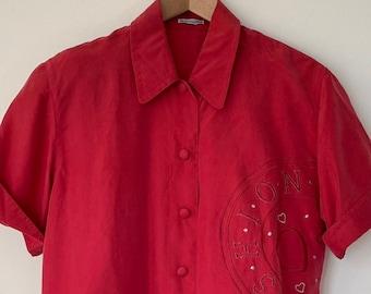 Vintage sweater Franco Callegari women top blouse 100/% silk navy blue short sleeves
