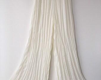 8c3a8d7a26a Vintage Pleated Chiffon Pants Creamy white 80s Long Wide leg crinkle pleat  Modern Palazzo Pants Elastic Waistband size 14 large