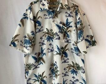 133a397e7 Blue white Hawaiian Shirt Palm trees Huts Tiki Print Oversized casual Tiki Shirt  Aloha pocket Luau shirt 2X chest 54