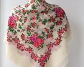 Wool scarf Russian Ukrainian folk scarf Fringed 70s Floral Wedding shawl Ivory gypsy shawl with unfinished edges 38 inches