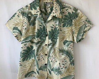 a7fc6201 Women's Hawaiian shirt XL Aloha Republic Button up Short Sleeves Island  camp shirt 100% Cotton floral top Fitted Summer casual Boho Top