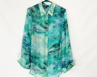 17c0e948ab5 Chiffon green blouse Tie dye style long loose fit top Button up Modern  women s Summer shirt Sheer Boho blouse Vacation wear Plus size XL