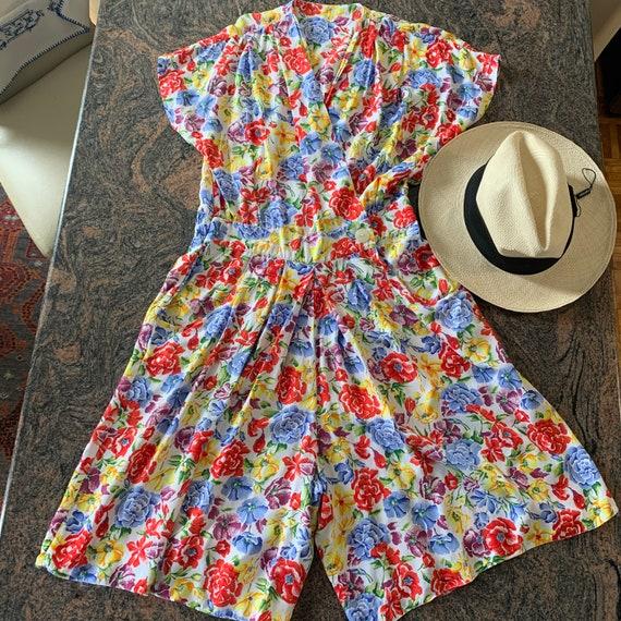 Vintage  Floral Culotte Dress  80's Split Skirt dr