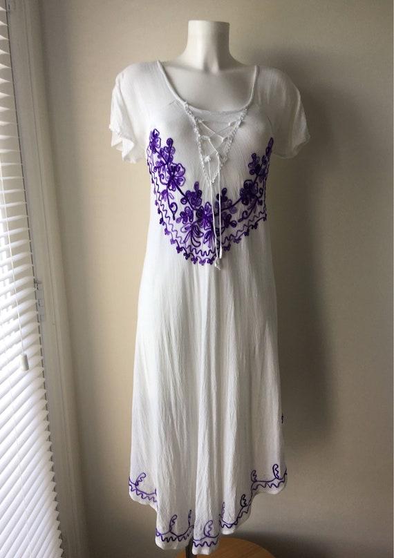 624932262cfe Gypsy Rayon Flowy Dress white with purple crewel hand