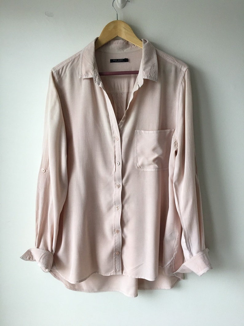 fface9c728e56 Blush button up shirt Minimalist Nude Blouse Vintage Long