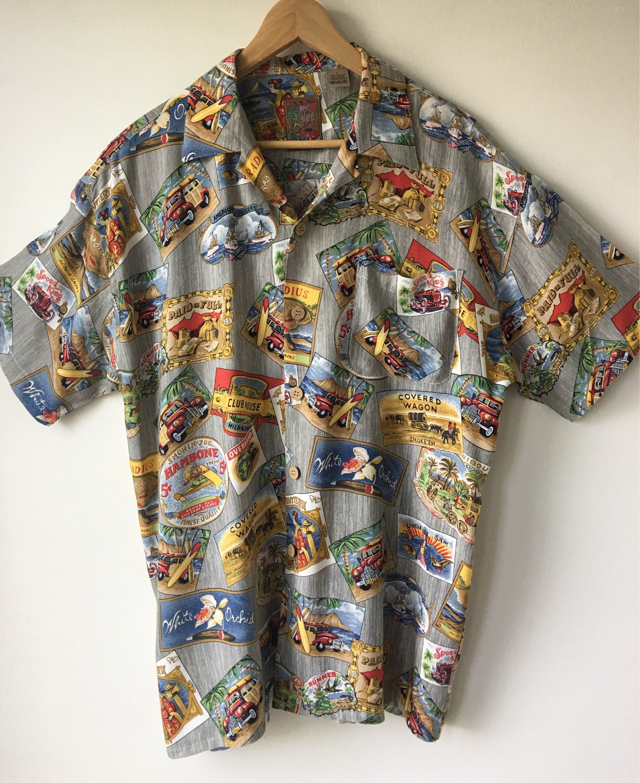 c57ecd4904 Vintage Hawaiian shirt Aloha Surfer style shirt Novelty print | Etsy