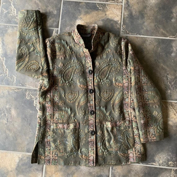 Vintage  Embroidered  Jacket 90's Tapestry Paisley
