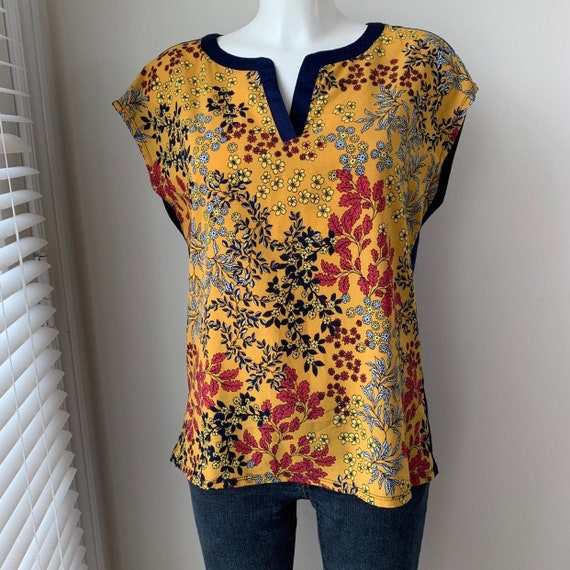 90s floral top Boxy jersey knit blouse Color block Blue  and burnt orange Modern Boho Bohemian chic Marc New York Andrew Marc Women/'s size M