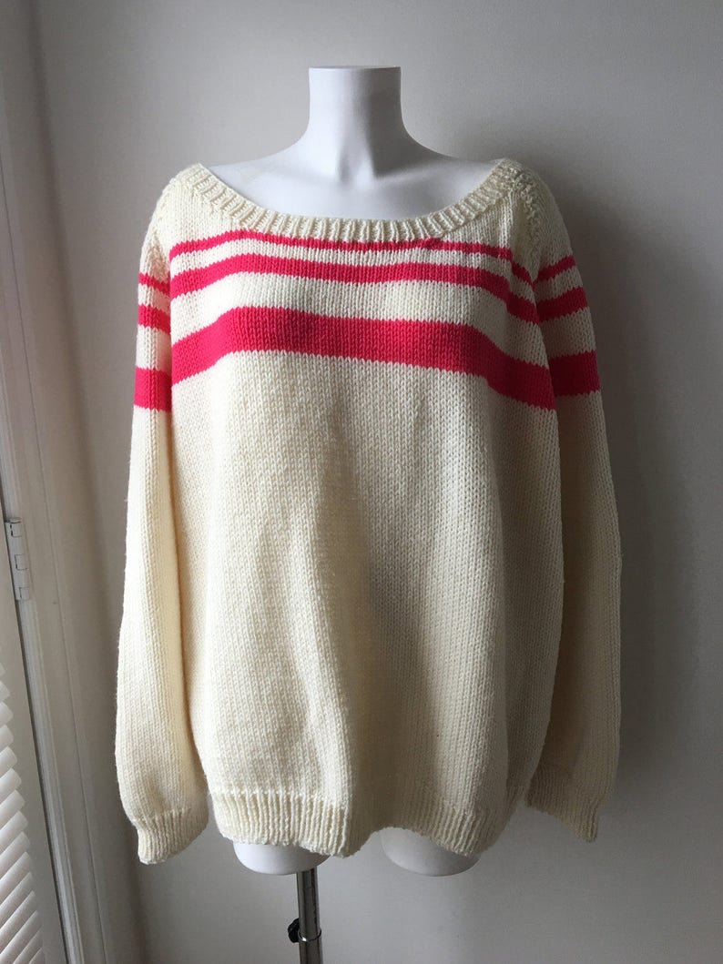 e2639d00f7e Oversized sweater Slouchy loose fit Hand knit Cream Wide neck