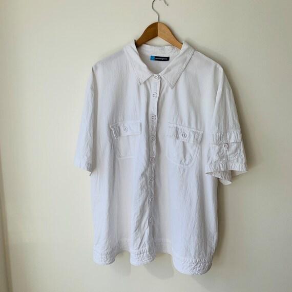 White cotton blouse 3X Oversized Retro 80s  Button