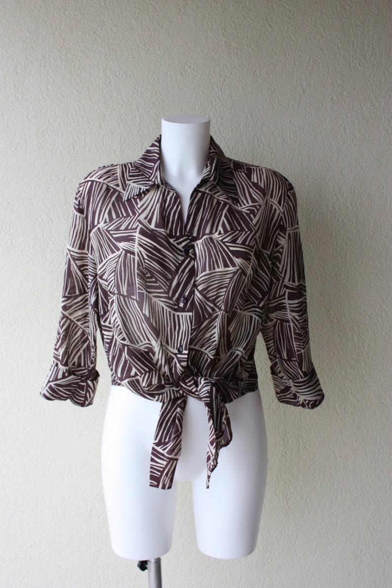 05ebfc3c04ae79 Vintage Silk blouse African print brown & taupe long top plus | Etsy