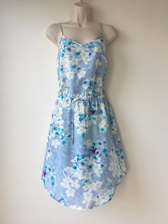 Blue Silk Sundress Summer 90s Dress Drawstring Waist Floral Etsy