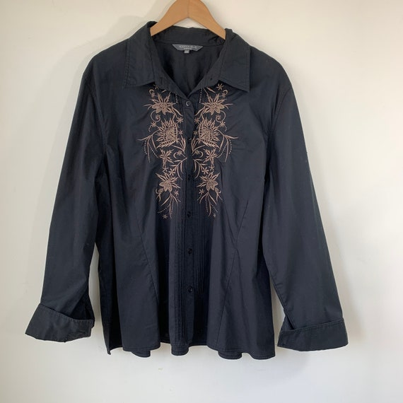 90s Black Blouse Embroidered shirt Button up Long