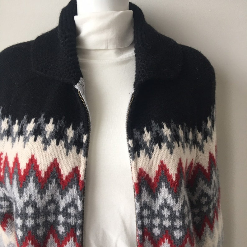 Lambswool Sweater Coat Heavy Spring Curling cardigan Jacket Chunky Wool Zipper Grey /& Red  jacket Nordic style Olympic patch Unisex Pockets
