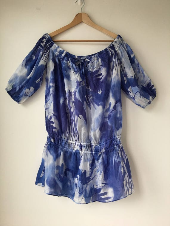 Blue Silk Blouse Gypsy Peasant Shirt Modern  Overs
