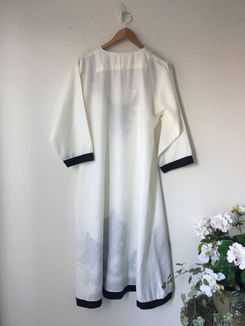 chest 42 Large White  Embroidered kaftan Ethnic Tribal pattern dashiki dress in black Long Bohemian Hippie Dress