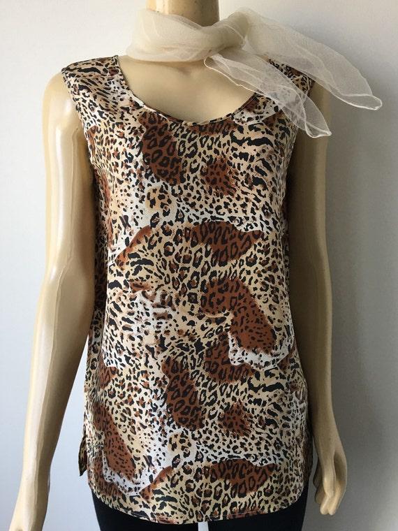 080a354abe09df 90s Silk Blouse Tank Top Leopard Cheetah print Brown Black