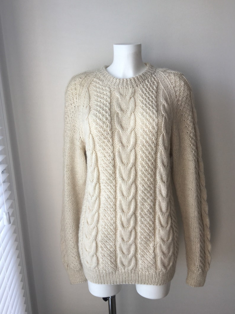 Irish Cable Knit Sweater Pullover Handknit Mohair Wool Ivory Etsy