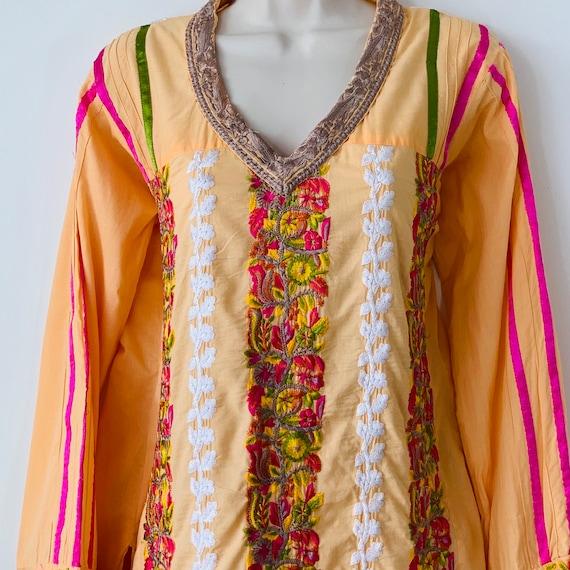 Embroidered tunic India kurta kaftan dress Intric… - image 9