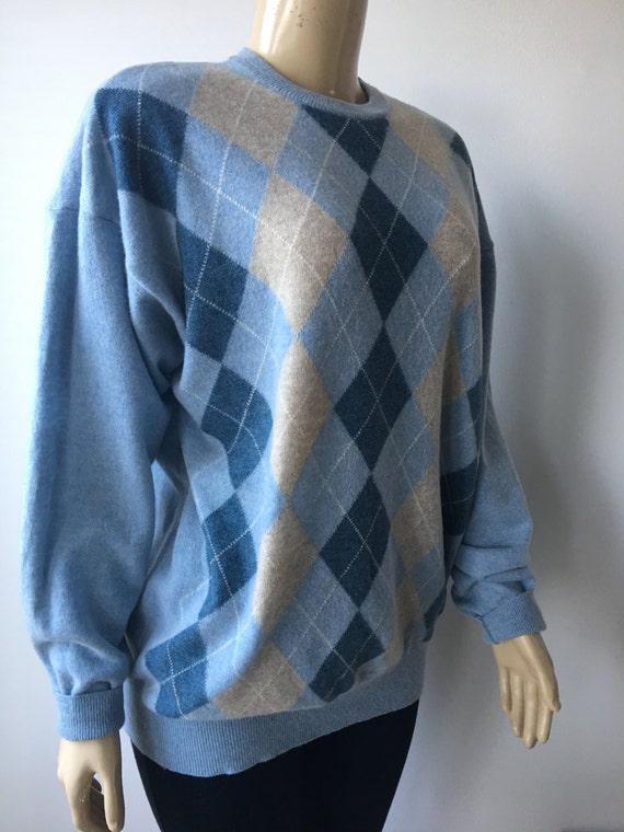 Argyle Vintage en Pull laine chinée bleu beige pull en Vintage maille toutes saison tricots Valda Italie Plus taille unisexe poitrine 50