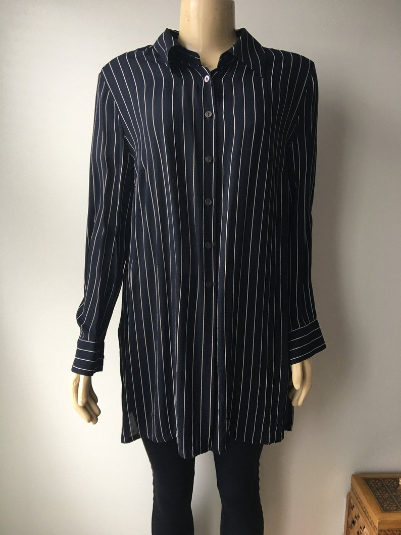 7b844939 90's Button down blouse Striped tunic Top Navy blue Career | Etsy