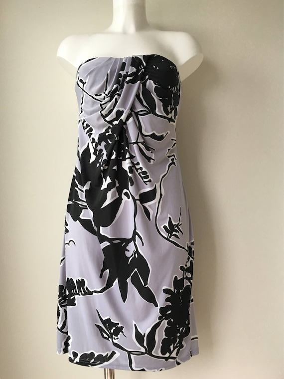 Sarong style dress Strapless summer dress Jersey knit sundress Abstract floral print Gray black Made in Paris size Med