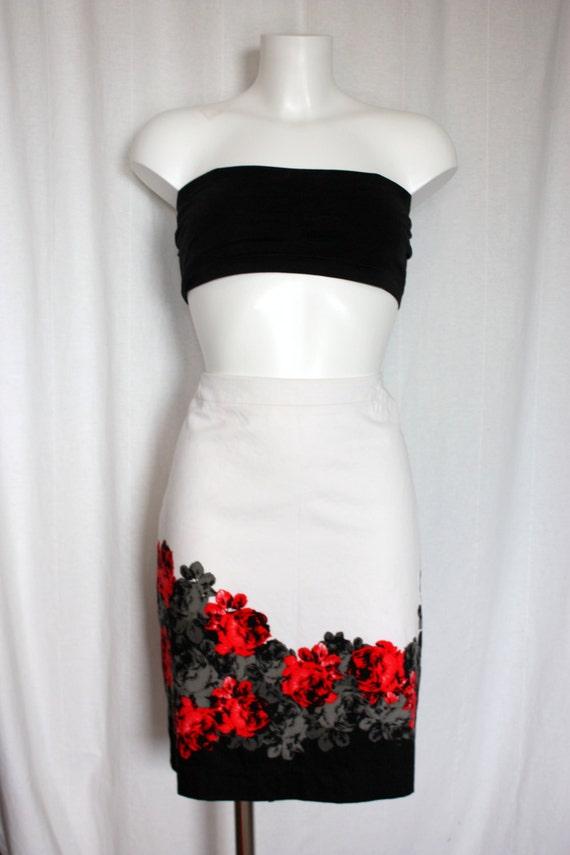 90s White  skirt Floral rose blossoms Cotton Strai