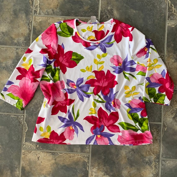 Floral  stretch Top  Blouse Plus size Scoop Neck Loose Fitting Vintage top Womens chest 48