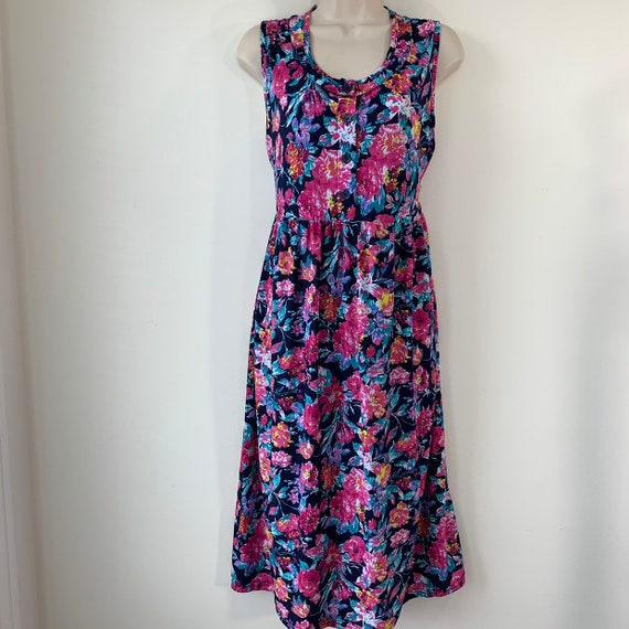 Floral day dress silky Tieback Gathered waist Mode